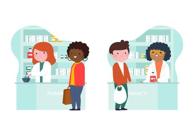 Farmacisti e clienti in farmacia Vettore gratuito